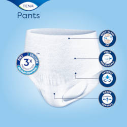 Close body fit with breathable material and odour control TENA absorbent Pants Discreet