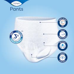 Saugfähige, diskrete Inkontinenzhosen von TENA mit körpernaher Passform, atmungsaktivem Material und Geruchsschutz