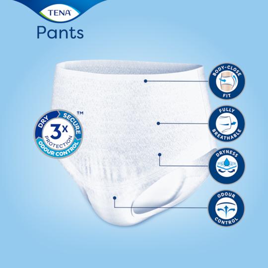 Kropsnær pasform, åndbare materialer og Odour Control med de absorberende TENA Pants Discreet