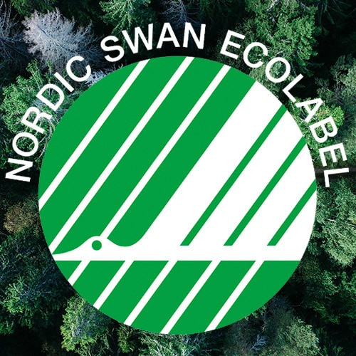 The Nordic Swan Ecolabel logo on a background of green trees