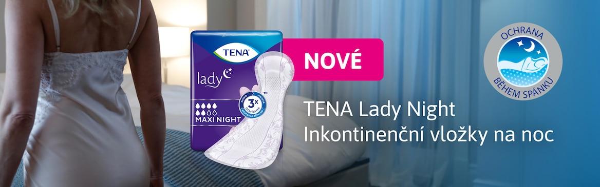Paní v ložnici a produkt TENA Lady Maxi Night