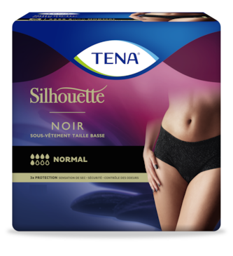 TENA Silhouette Normal Taille basse Noir – sous-vêtement absorbant féminin en noir élégant