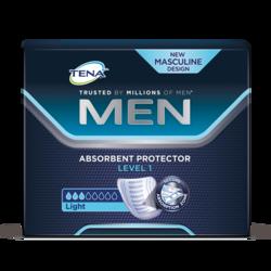TENA Men nedvszívó termék – Level 1, csomagban, enyhe nedvszívó képességgel