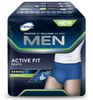 Le mutandine assorbenti TENA Men Active Fit sono appositamente studiate sull'anatomia maschile
