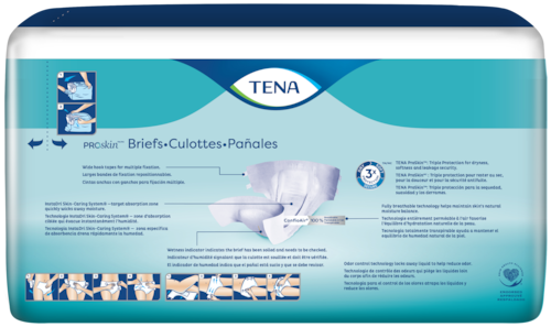 TENA ProSkin™ XS incontinence Briefs back of pack